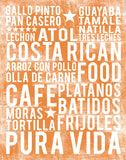 Costa Rican Food Subway Art Print -  Tangerine Color Poster