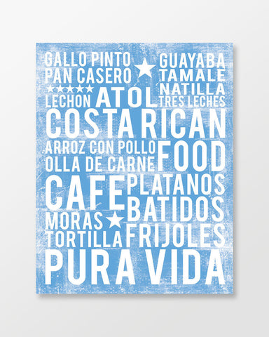 Costa Rican Food Subway Art Print -  Ocean Blue Color Poster