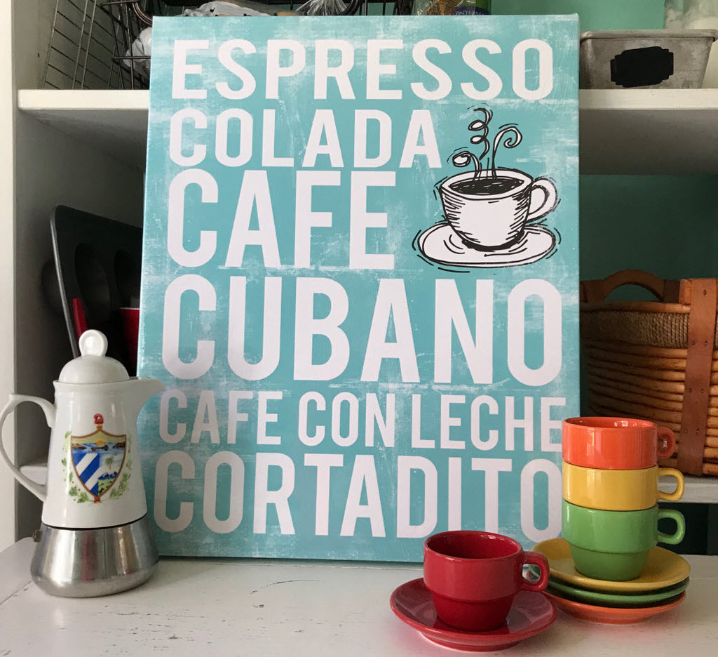 Cuban Coffee Art Canvas - Cafe Cubano Subway Art - Various Colors - MartaDarbyDesigns