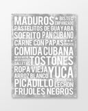 Cuban Food - Subway Art Print - Ash Grey Color Canvas