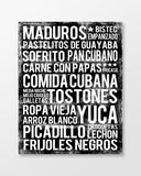 Cuban Food Subway Art Print -  Black Color Poster