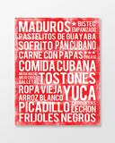 Cuban Food Subway Art Print -  Cherry Color Poster