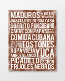 Cuban Food - Subway Art Print - Chocolate Color Canvas