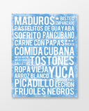 Cuban Food - Subway Art Print - Ocean Blue Color Canvas