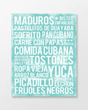Cuban Food Subway Art Print -  Sea Foam Color Poster