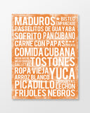 Cuban Food - Subway Art Print - Tangerine Color Canvas