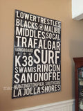 Custom Surf Poster - Surfing Poster - Surf Print - Custom Word Art - MartaDarbyDesigns