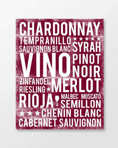 Wines Poster - Types of Wines | Subway Style Word Art - MartaDarbyDesigns