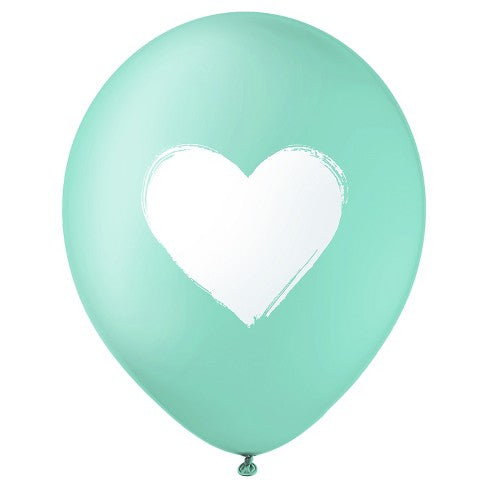 Brush Heart Balloon Teal
