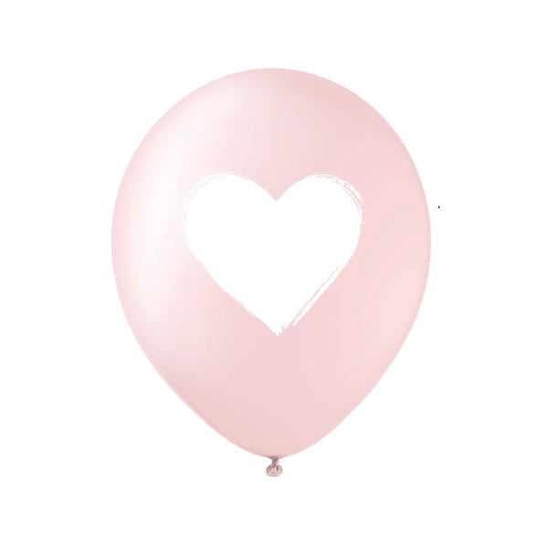 Brush Heart Balloons Pink and White