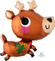 Adorable Reindeer Christmas Foil Balloon