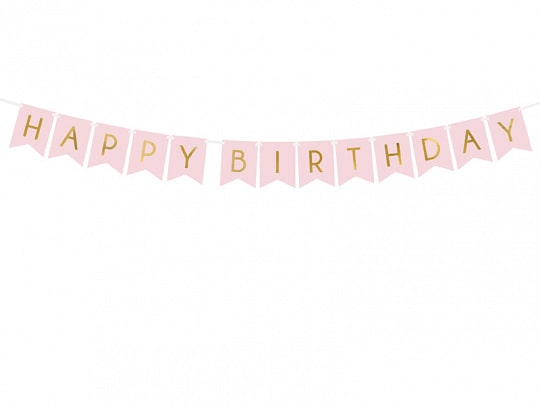 Light Pink Happy Birthday Banner