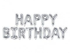 Happy Birthday Silver Foil Letter Balloons
