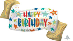 Iridescent Happy Birthday Banner Balloon