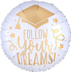 Follow Your Dreams White & Gold Balloon