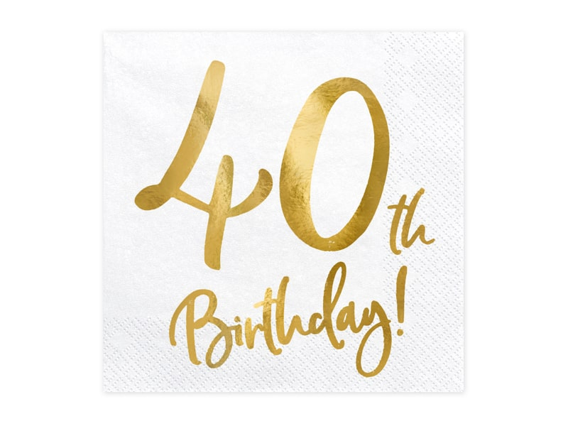 40th Birthday Gold Foil Napkins
