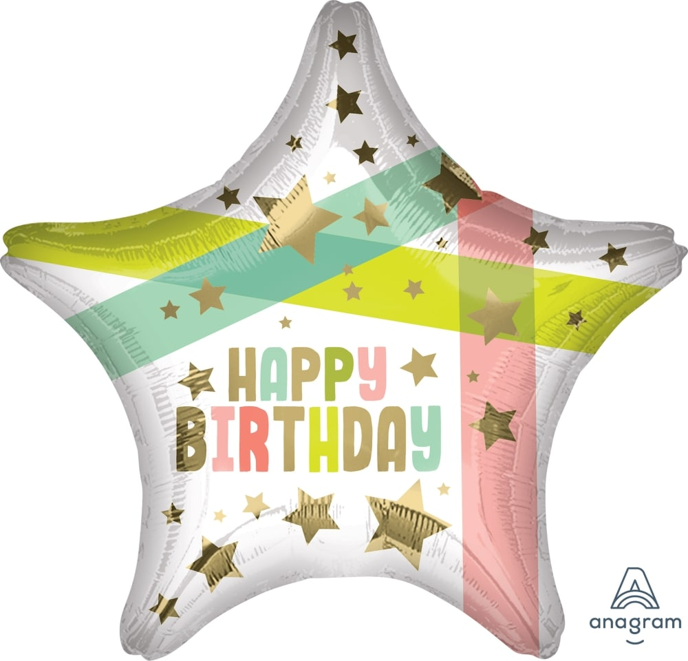 Happy Birthday Gold Stars and Colors Balloon