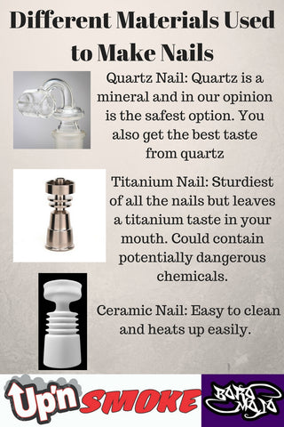 Types of materials for nails. Fort Collins, Colorado head shop Up N Smoke