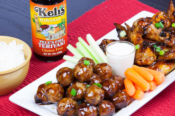 Teriyaki Chicken Wings and Meatballs