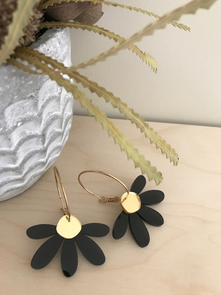 Foxie Collective - Jumbo Daisy Hoop Earrings - Black