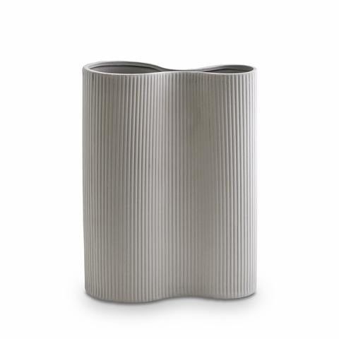 Load image into Gallery viewer, RIBBED INFINITY VASE LIGHT GREY MEDIUM