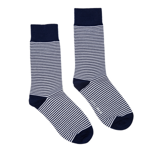 Navy and White Stripe Socks