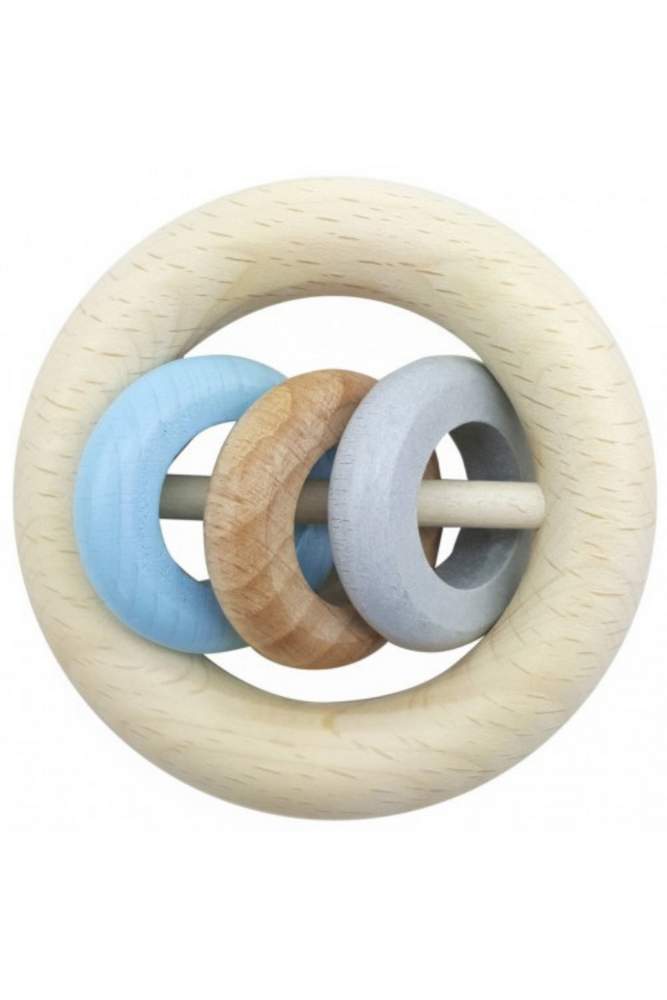 Round Rattle Natural Blue