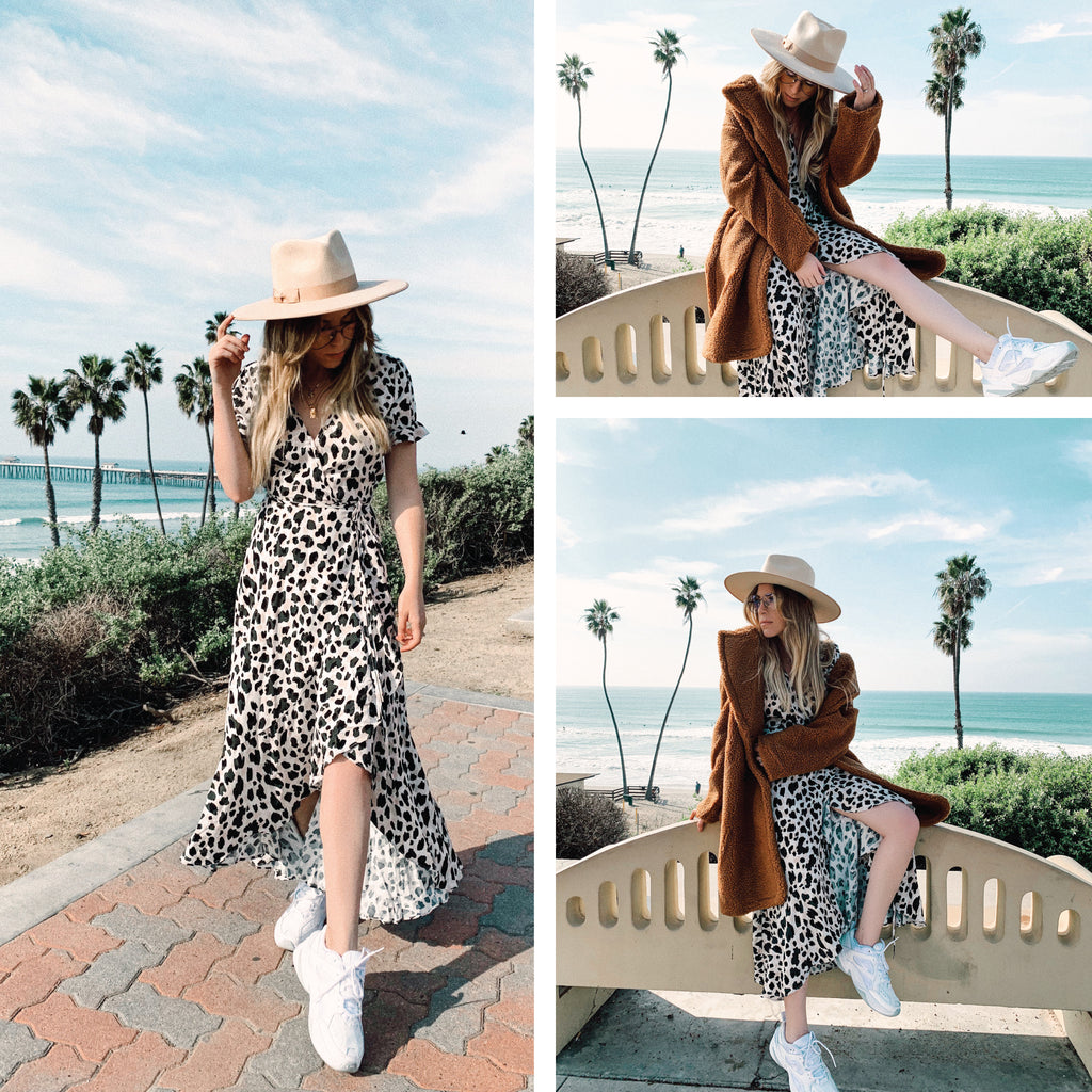 Nevada Leopard Wrap Midi Dress