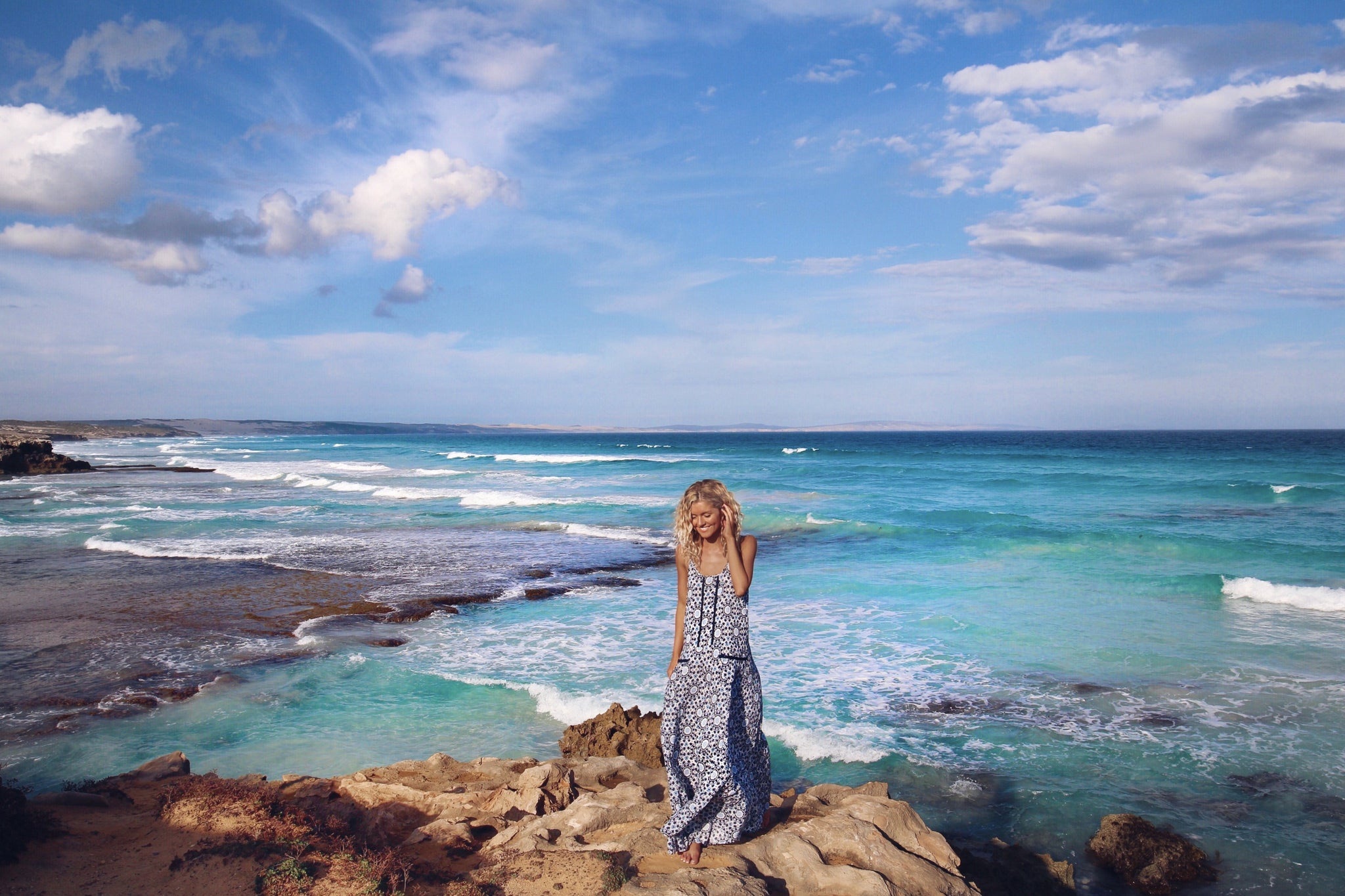 elisecook on the road with kivari blue temple drop dress