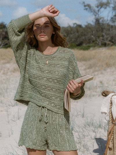 Mia Knitted Short - Fern