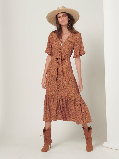 Chateau Tie Front Midi Dress