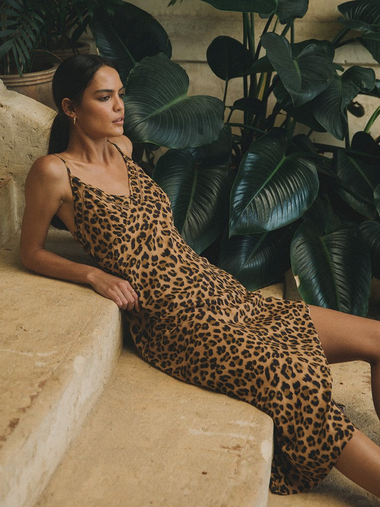 Hazel Leopard Slip Midi Dress