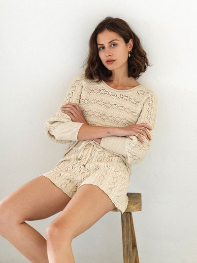 Mia Knitted Short - Oatmeal