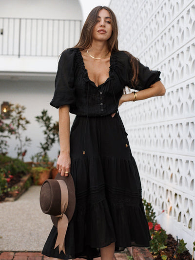 Romee Lace Maxi Dress - Black