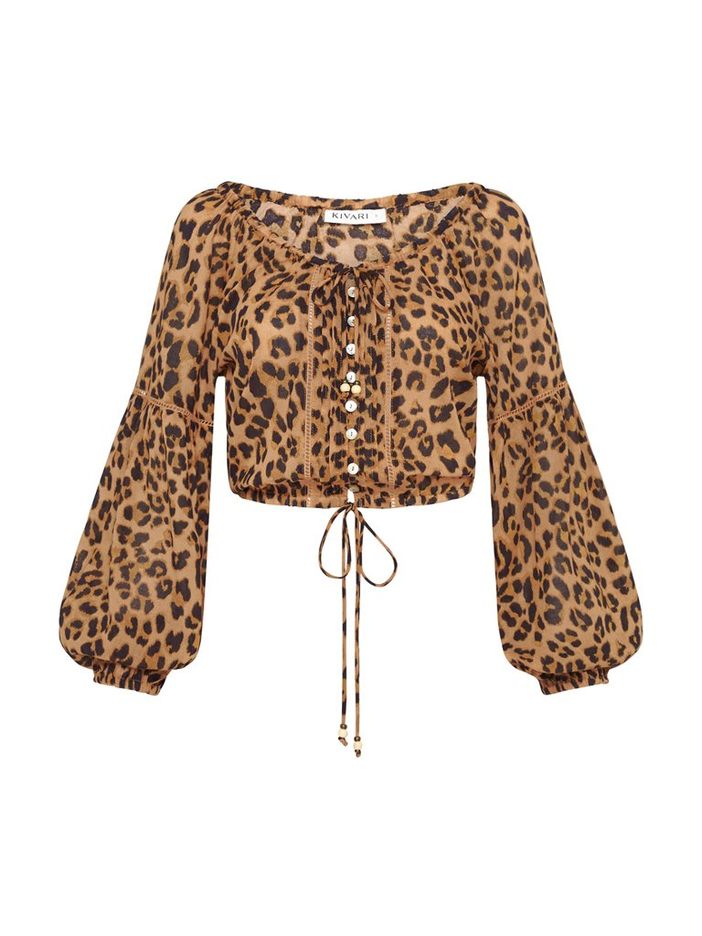 Hazel Leopard Cotton Blouse