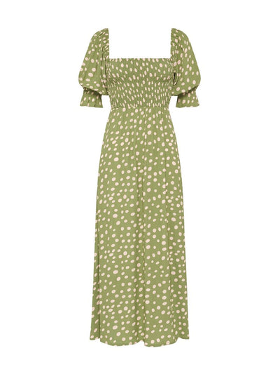 Gianna Polka Shirred Midi