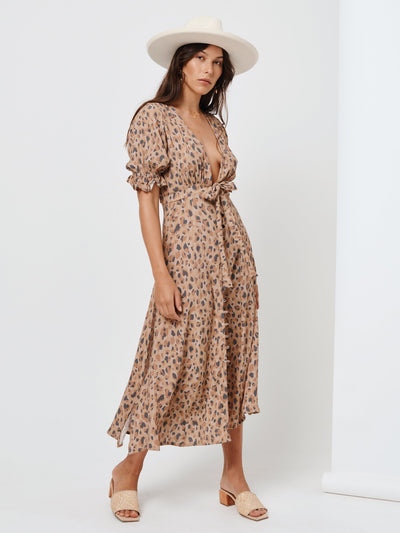 Nomade' Leopard Tie Front Midi