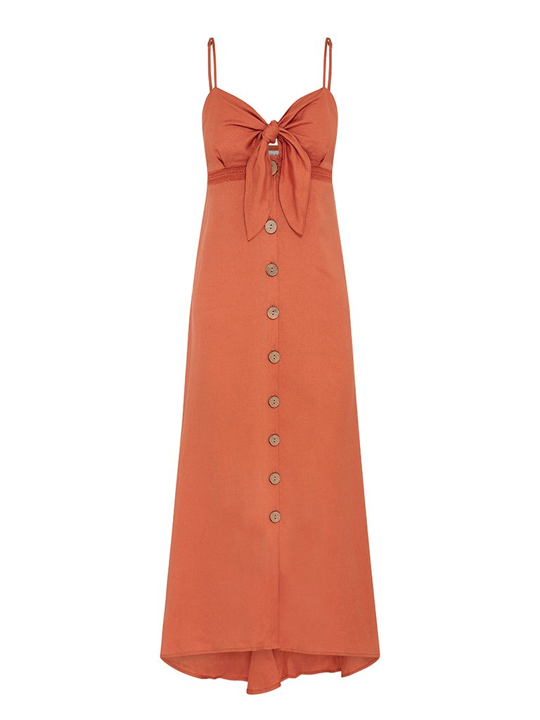 Millie Tie Front Midi Dress