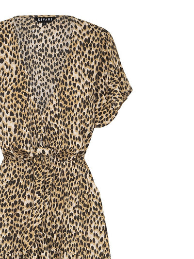 Billie Leopard Tie Front Maxi dress