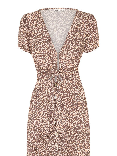 Alena Leopard Tie Front Midi Dress