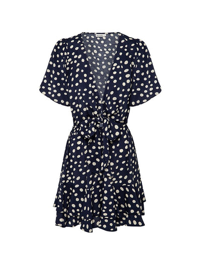 Victoria Polka Tie Front Mini Dress