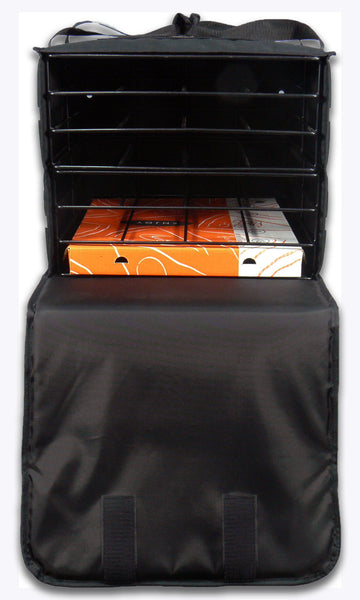 Pizza Bag to fit 6 Pizzas. Black with Reflector Tapes - BagMasters Australia