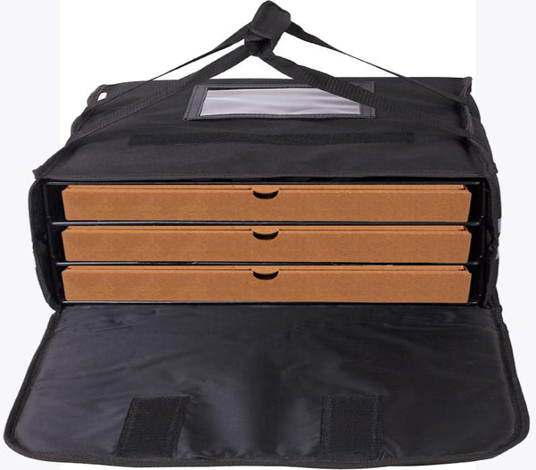 "XLarge Pizza Bag to fit 3 x 24"" Pizzas. Black with Reflector Tapes - BagMasters Australia"
