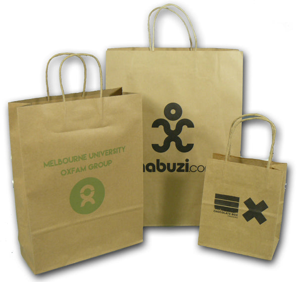 Kraft Paper bags with paper twist handles - Printed - BagMasters