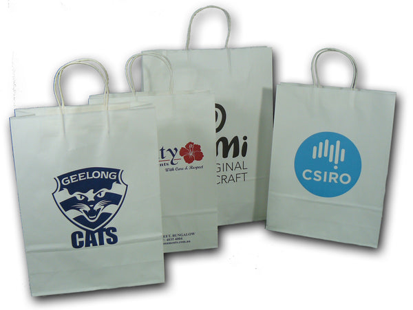 Kraft Paper white bags with paper twist handles - Printed - BagMasters