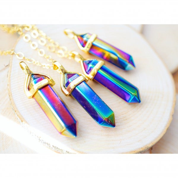 Titanium Aura Quartz Gold Necklace
