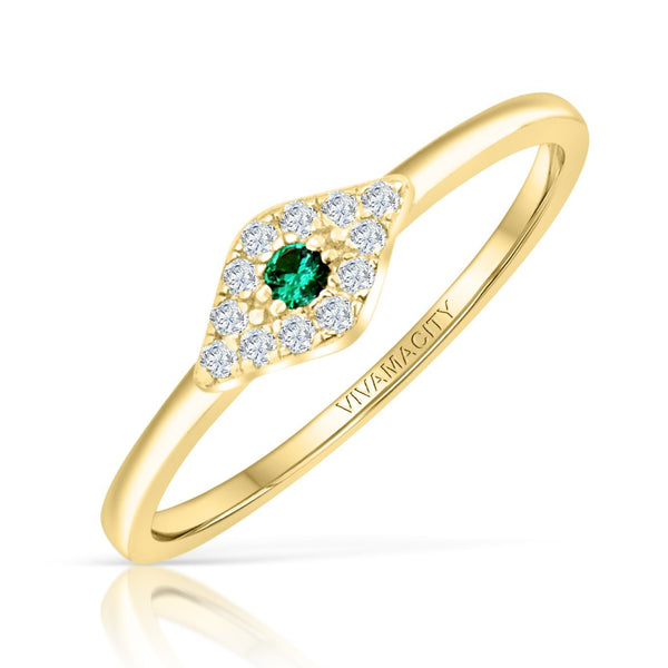 Emerald Evil Eye Ring