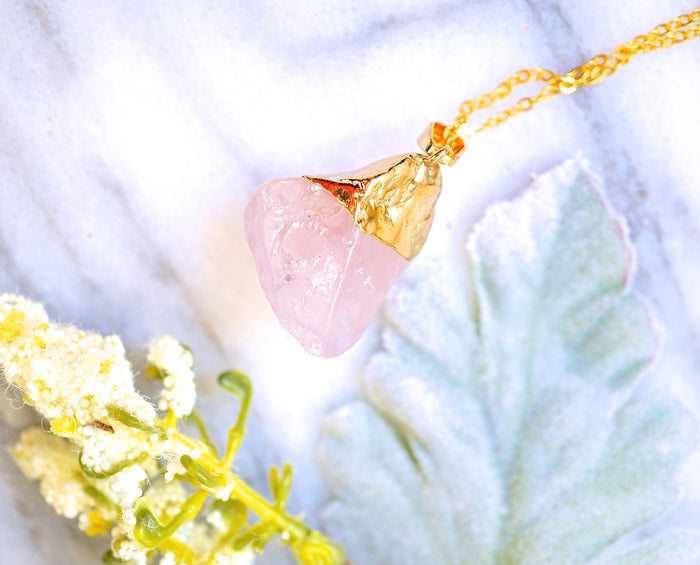 Gold Dipped Raw Rose Quartz Necklace
