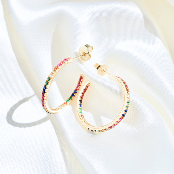 Rainbow Diamond Hoops
