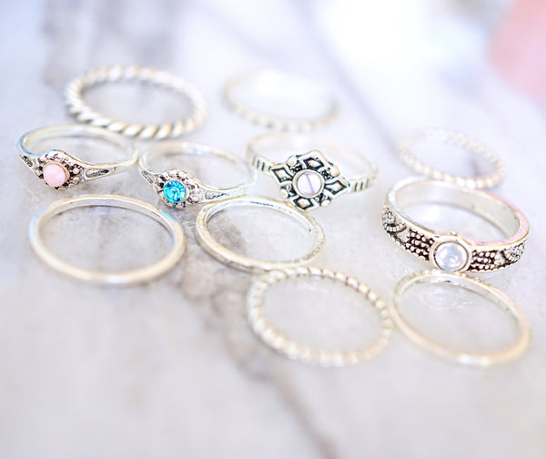 Stone Princess Midi Ring Set